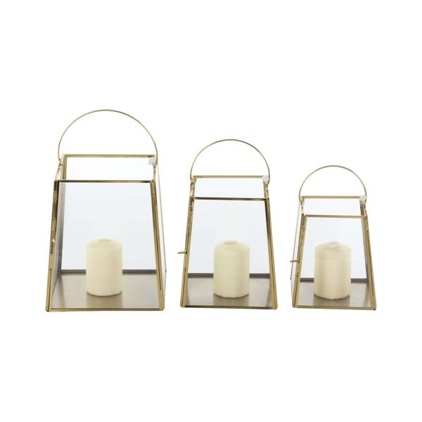 Studio 350 Metal Glass Candle Holder Set of 3, 5 inches, 6 inches, 7 inches high 28792378