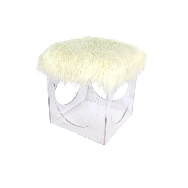 Studio 350 Acrylic Faux Fur Stool 17 inches wide, 19 inches high 28835961