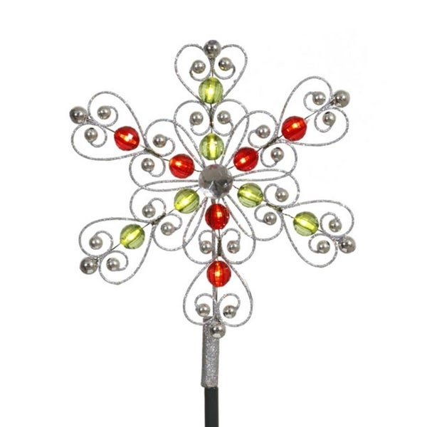 "9"" LED Lighted Silver  Red  Green Snowflake Christmas Tree Topper - Clear Lights 28843880"