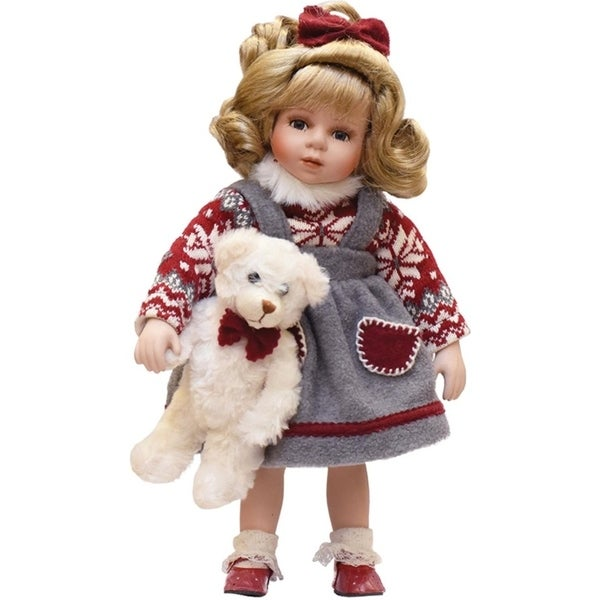 """14.5"""" Porcelain """"Eileen"""" with Teddy Bear Standing Collectible Christmas Doll 28844130"""