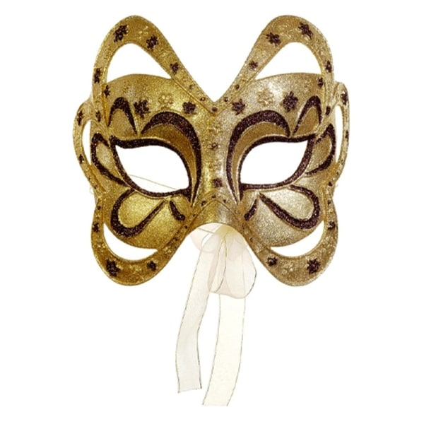 """6.75"""" Gold and Brown Glittered Floral Masquerade Mask Christmas Ornament 28844342"""