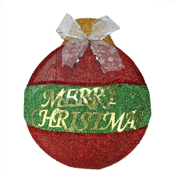 """17.25"""" LED Lighted Red and Green """"Merry Christmas"""" Ornament Hanging Wall  Decoration 28844608"""