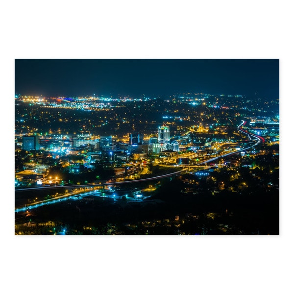 Noir Gallery Roanoke, Virginia Skyline at Night Fine Art Photo Print 28846686