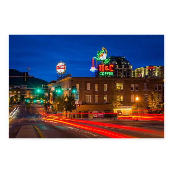 Noir Gallery Downtown Roanoke at Night in Virginia Fine Art Photo Print 28846689