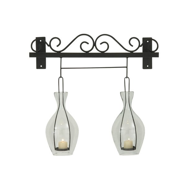 Studio 350 Metal Glass Wall Candle Holder 20 inches wide, 19 inches high 28846794