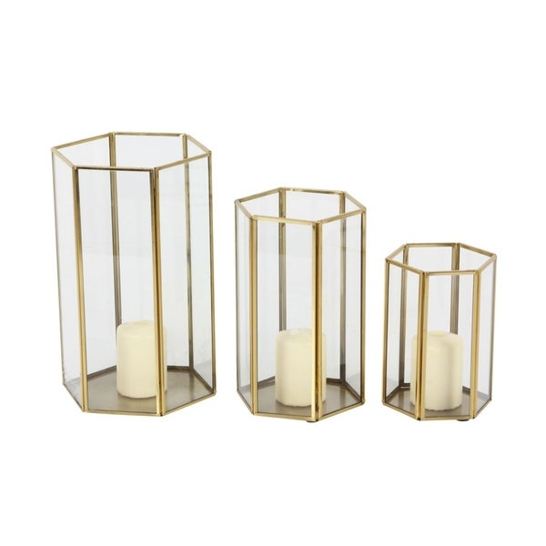 Studio 350 Metal Glass Candle Holder Set of 3, 6 inches, 8 inches, 10 inches high 28847060