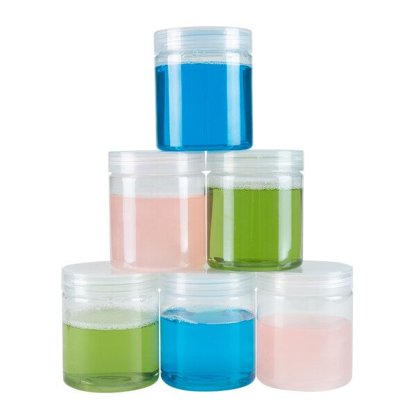 Clear Plastic Jar Containers, 6 Pack of Plastic Storage Jars with Foam Liner By Stalwart 28850319