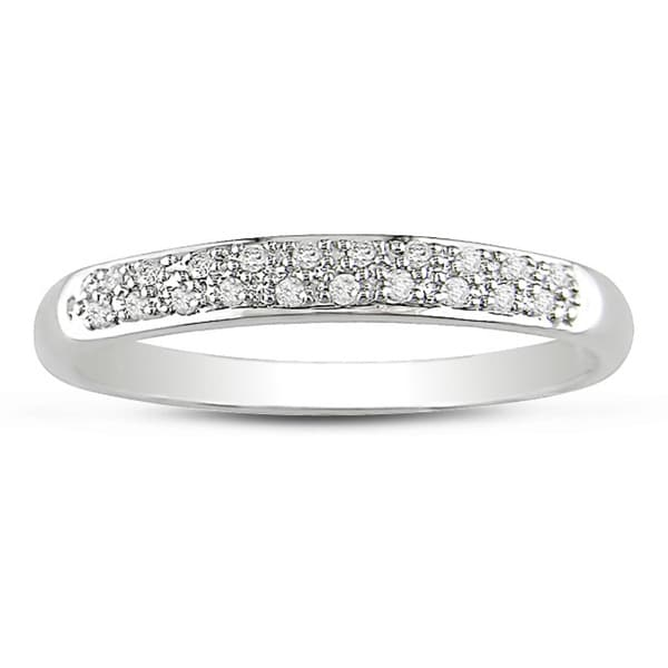 Miadora 14k White Gold 1/10ct Diamond Anniversary Band (H-I, I2-I3)