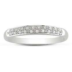Miadora 14k White Gold 1/10ct Pave Diamond Band (J-K, I2-I3)