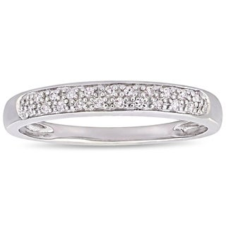 Haylee Jewels 14k White Gold 1/10ct Diamond Anniversary Band (H-I, I2-I3)
