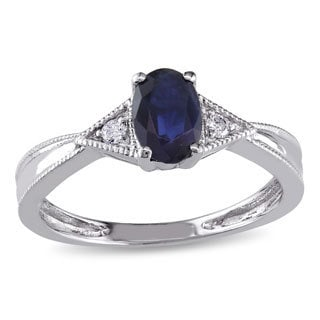Miadora 14k White Gold Diamond and Blue Sapphire Ring