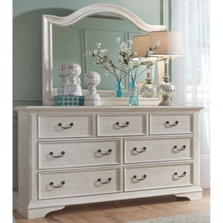 Bayside Antique White Wire Brushed 7-Drawer Dresser and Arch Mirror Set