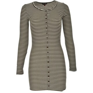 Soft Partial Button Front Long Sleeve Rib T-Shirt Dress with Lettuce Stitch Edges 28874103