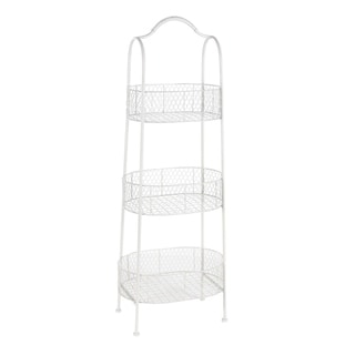 Studio 350 Metal 3Tier Basket White 15 inches wide, 41 inches high