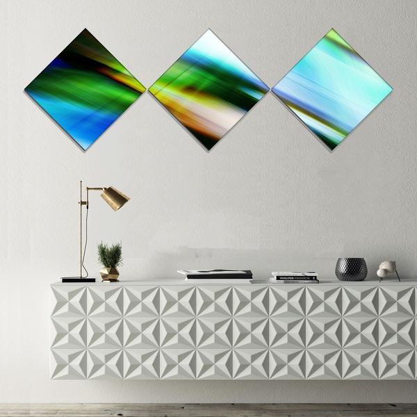 Designart 'Rays of Speed Blue Green' Abstract Canvas art print - 3 Diamond Canvas Prints 28919944