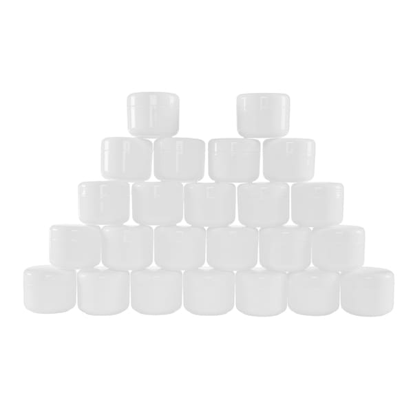 White 2 Ounce Plastic Jar Containers, 24 Pack of Storage Jars with Inner and Outer Lid By Stalwart 28920821
