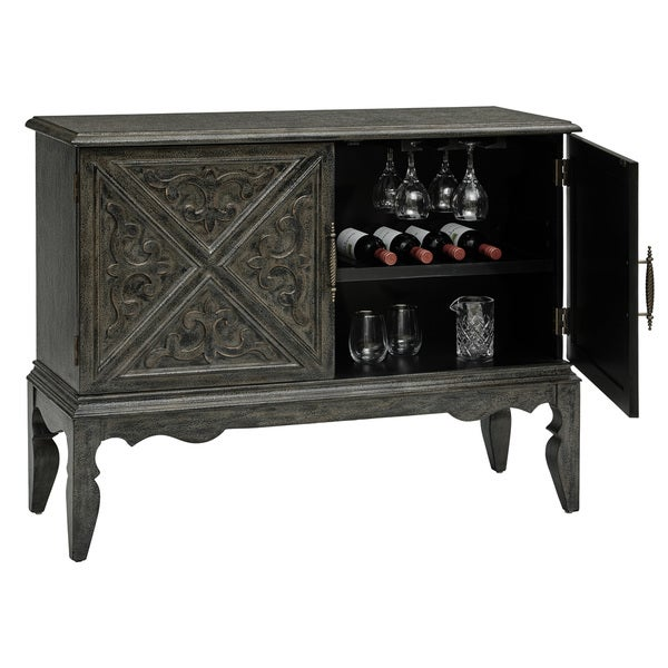 Hand Painted Distressed Charcoal Grey Finish Bar and Wine Cabinet