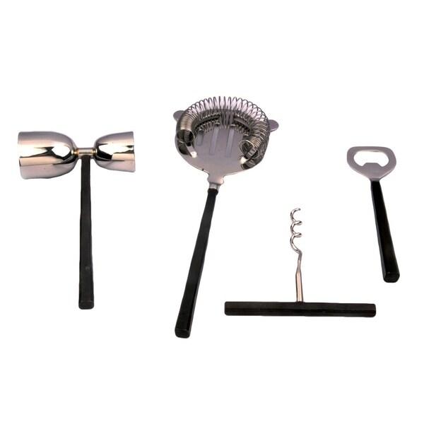INOX Jason Design 4-piece Burnt Black Bar Tools Set