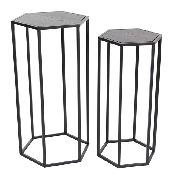 Studio 350 Metal Wood Pedestal Set of 2, 25 inches, 27 inches high 28927718