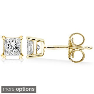 Annello 14k Gold 1/2ct Princess Diamond Stud Earrings (H-I, I1-I2)