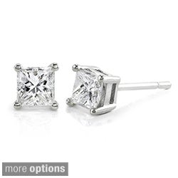 Annello 14k Gold 1ct TDW Princess-cut Diamond Stud Earrings (H-I, I1-I2)