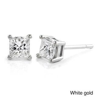Annello 14k Gold 1ct TDW Princess-cut Diamond Stud Earrings (H-I, I1-I2)