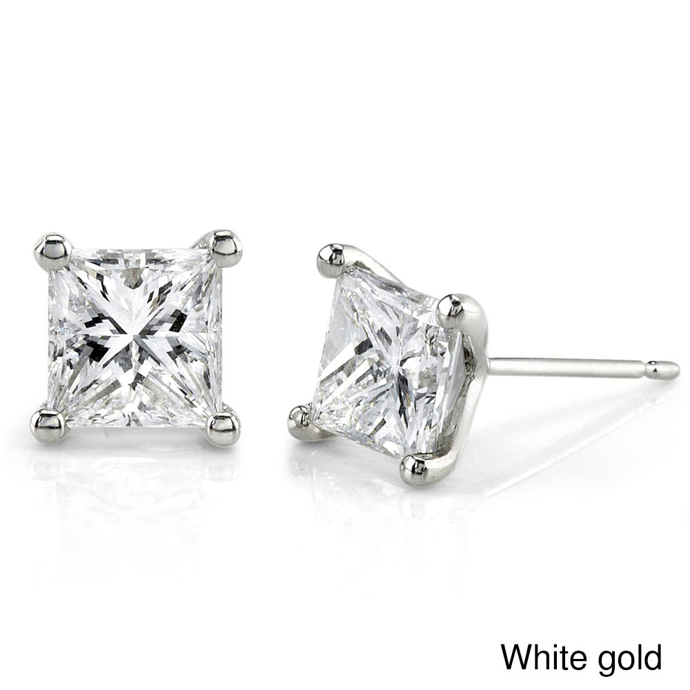 Annello Annello 14k Gold 1ct TDW Princess-cut Diamond Stud Earrings (G-H, SI1-SI2)