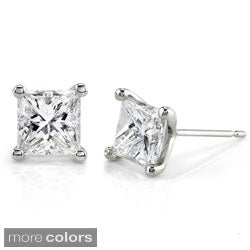 Annello 14k Gold 1ct TDW Princess-cut Diamond Stud Earrings (G-H, SI1-SI2)