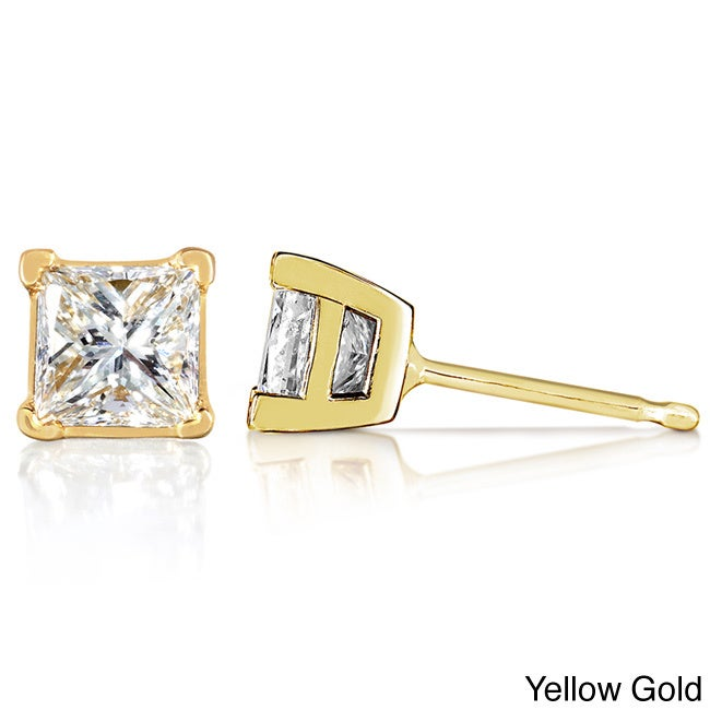 Annello Annello 14k Gold 1/2ct TDW Princess Diamond Stud Earrings (G-H, VS1-VS2)