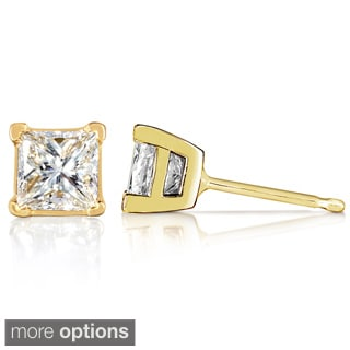 Annello 14k Gold 1/2ct TDW Princess Diamond Stud Earrings (G-H, VS1-VS2)