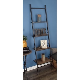Rustic 77 x 20 Inch Wood and Metal Leaning Ladder Shelf by Studio 350