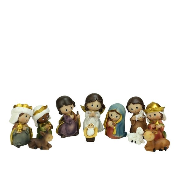 "11-Piece Multi-Color Children's First Religious Nativity Figurine Set 3.5"" 28941355"