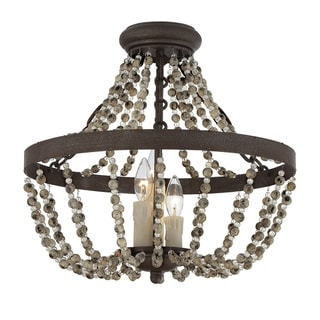 The Gray Barn Lunasa ossil Stone 3-light Convertible Semi Flush Mount Lighting
