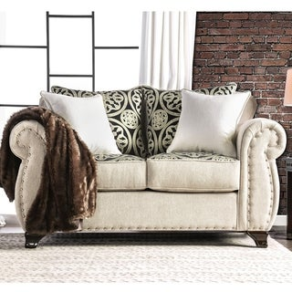 Furniture of America Sigg Transitional Linen Nailhead Padded Loveseat
