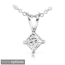 Annello 14k Gold 1/3ct Princess Diamond Solitaire Necklace (H-I, I1-I2)