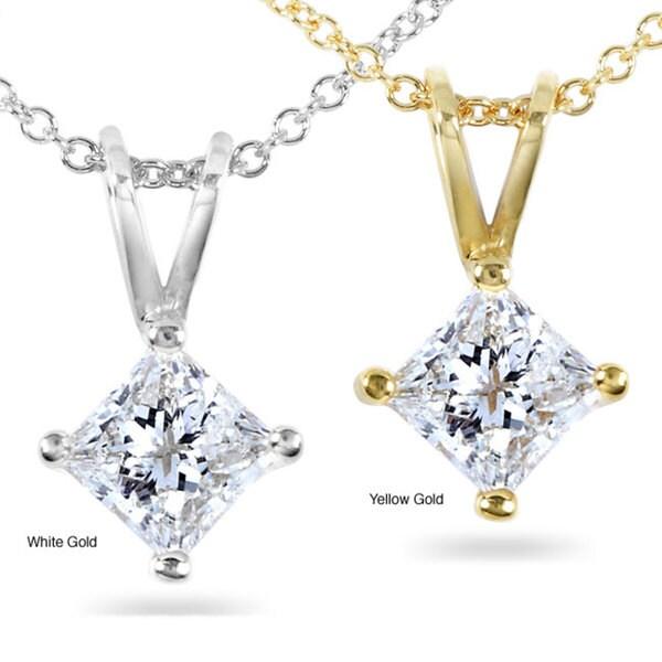 Annello 14k Gold 1/2-ct Princess Diamond Solitaire Pendant (H-I, I1-I2)