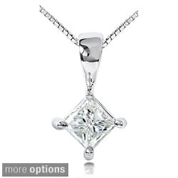 Annello 14k Gold 1/3ct TDW Princess Diamond Solitaire Pendant (H-I, SI1-SI2)