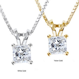 Annello 14k Gold 1/2ct Princess Diamond Solitaire Pendant (G-H, VS1-VS2)
