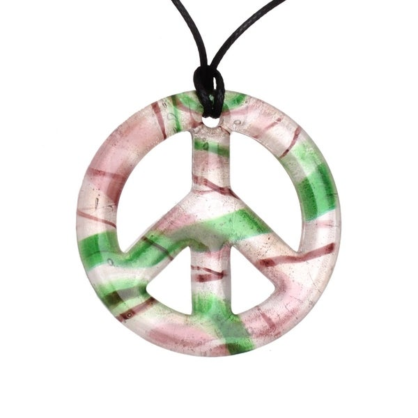 Bleek2sheek Handmade Jewelry Glass Pearl, Green and Purple Peace Sign Pendant Neckla 28976530