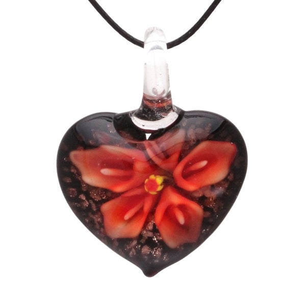 Bleek2sheek Handmade Jewelry Murano-inspired Glass Fire Red Hidden Flower Heart Pendant Necklace 28977289