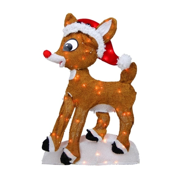 """24"""" Pre-Lit 2-D Rudolph the Red-Nosed Reindeer Christmas Yard Art Decoration - Clear Lights 28999234"""