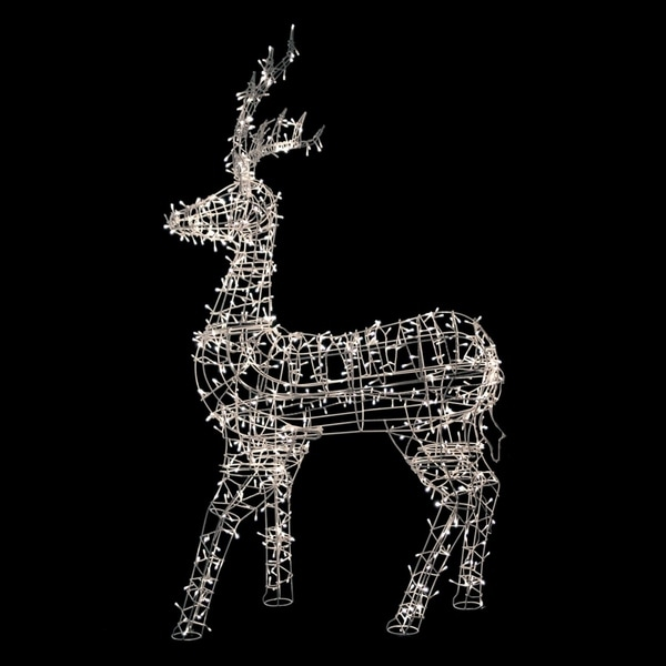 "60"" White LED Lighted Standing Reindeer Outdoor Christmas Decoration - Warm White Lights 28999515"