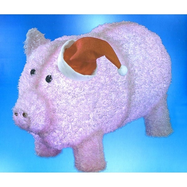 "28"" Pre-Lit LED Outdoor Chenille Pig in Santa Hat Christmas Yard Art Decoration 28999522"