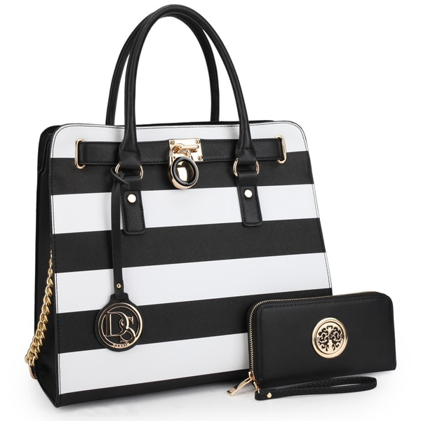 Dasein Large Striped Satchel with Matching Wallet 29003305