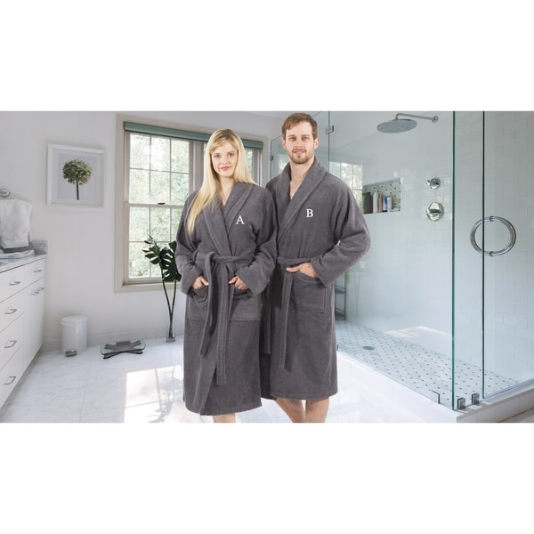 Authentic Hotel and Spa Unisex Grey Turkish Cotton Terry Bath Robe with White Block Monogram 29006803