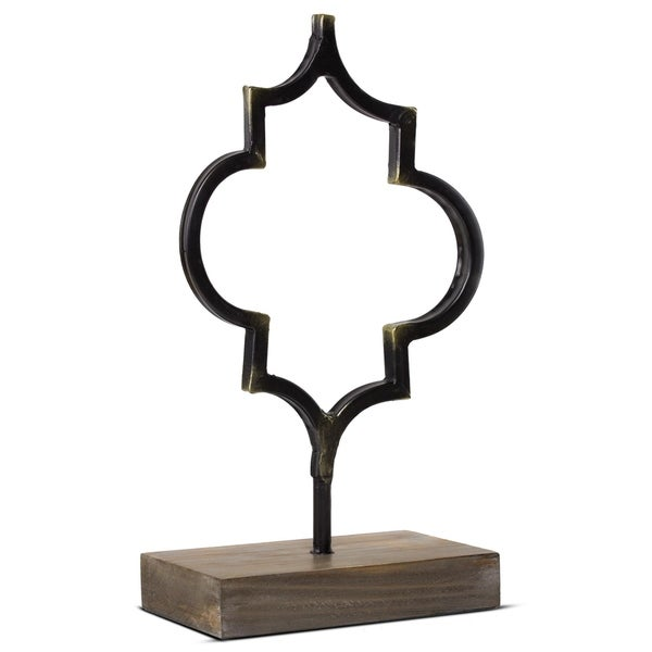 Metal Table Top Figure Decor Sculpture with Wood Base 29022770