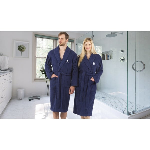 Authentic Hotel and Spa Unisex Navy Blue Turkish Cotton Terry Bath Robe with White Block Monogram 29024634