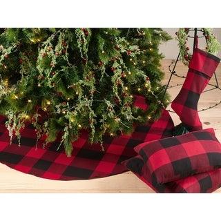 Buffalo Plaid Design Decorative Cotton Christmas Tree Skirt