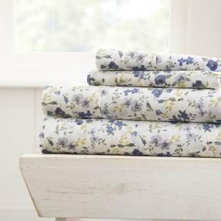 Merit Linens Premium Blossoms Pattern 4 Piece Bed Sheets Set