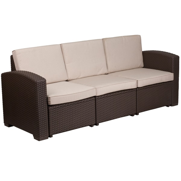 Faux Rattan Sofa with All-Weather Cushions